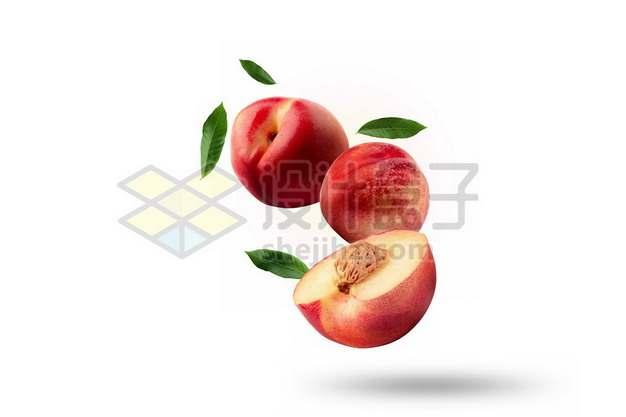 3颗切开的桃子阳山水蜜桃和绿叶装饰814721psd/png图片素材