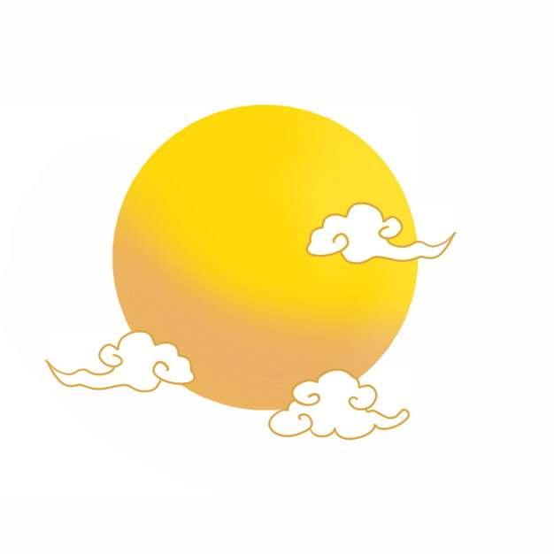 金色线条祥云图案和黄色月亮150801png图片素材