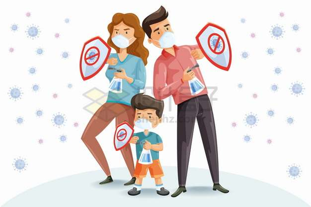 卡通一家三口拿着消毒液和防护盾抵挡新型冠状病毒png图片素材