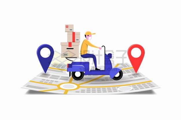 骑电动车行驶在地图上的外卖员快递员送货png图片素材
