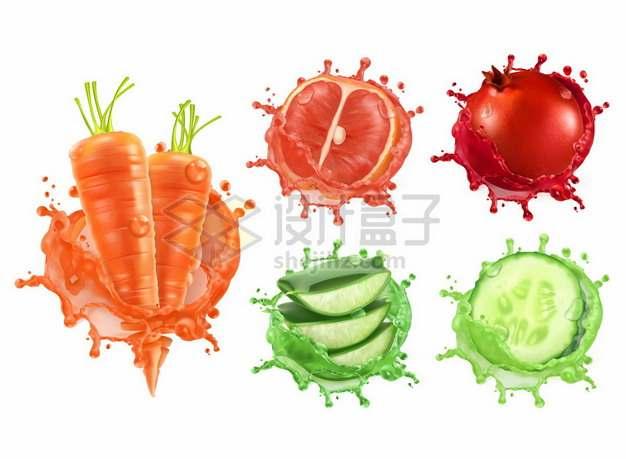 胡萝卜汁柚子汁石榴汁芦荟汁苹果汁等水果汁584262png矢量图片素材