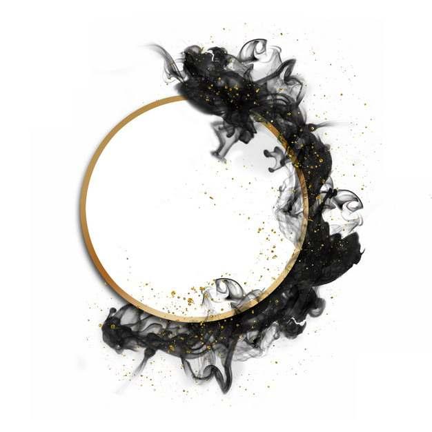 金色金属色圆环和黑色的墨汁烟雾效果783822png图片素材
