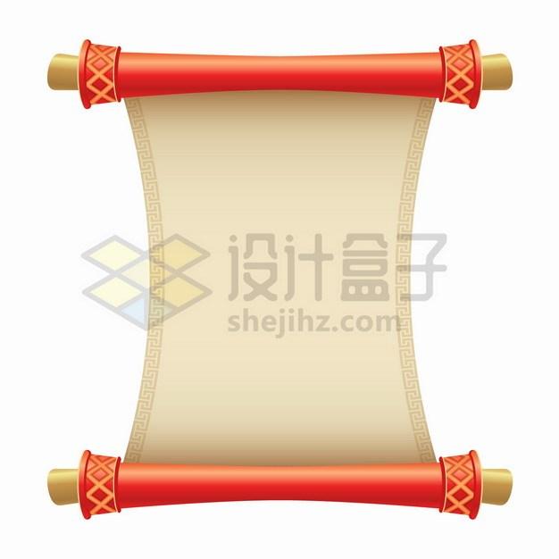 中国风卡通复古卷轴圣旨png图片素材 边框纹理-第1张