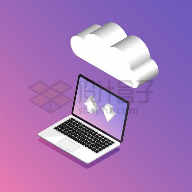 笔记本电脑和3D云朵象征了云计算服务png图片素材