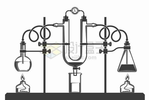 酒精灯平底烧瓶蒸馏器锥形瓶等化学实验仪器手绘插画png图片素材