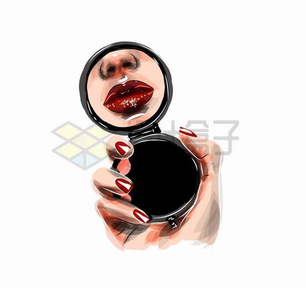 拿着化妆镜看嘴唇口红颜色的美女化妆美妆彩绘插画png图片素材 生活素材-第1张