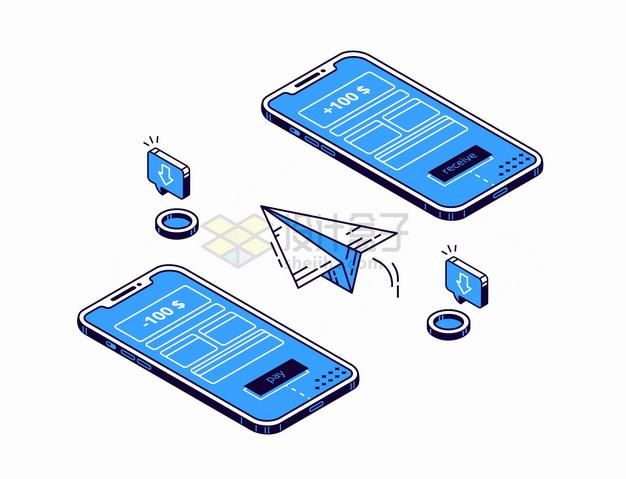 蓝色2.5D风格两个手机之间的移动支付转账png图片素材 IT科技-第1张