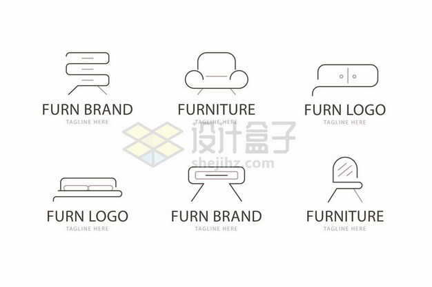 6款简约线条柜子沙发双人床茶几梳妆台图标410142png矢量图片素材 图标-第1张