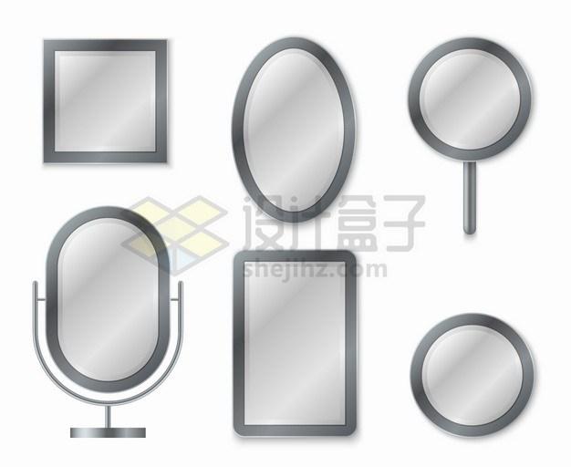 灰色方形圆形椭圆形镜子png图片素材 生活素材-第1张