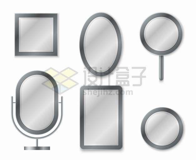 灰色方形圆形椭圆形镜子png图片素材