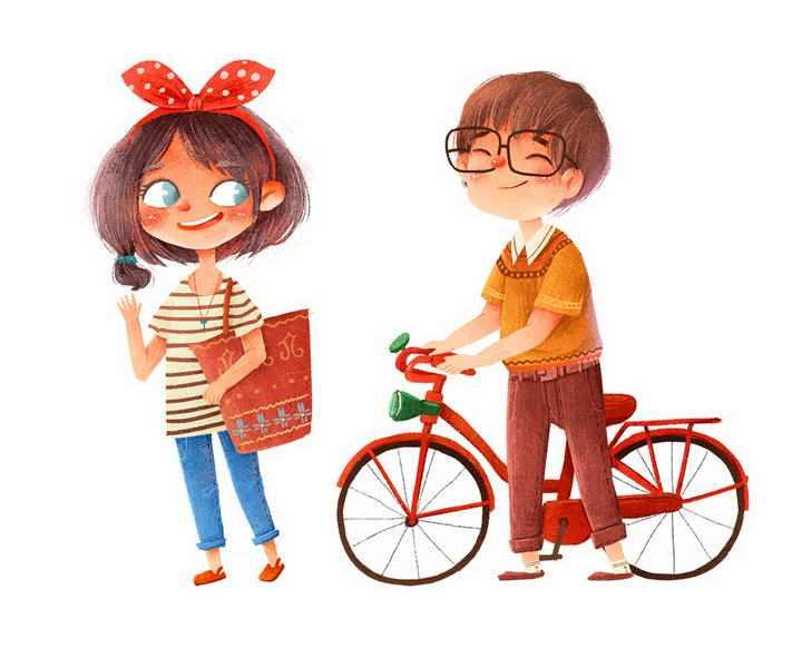 手绘插画风格推着自行车约会的情侣情人节图片免抠素材