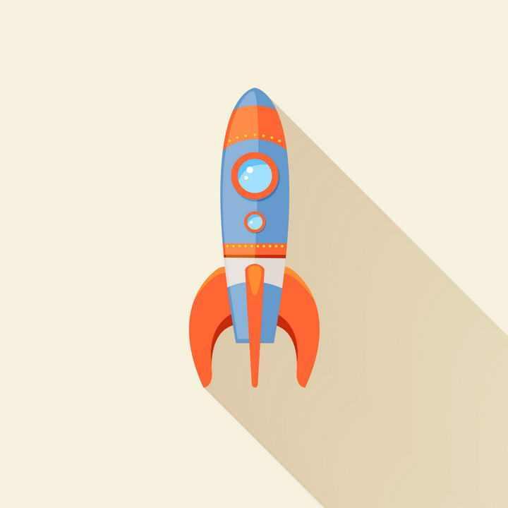 长阴影扁平化风格卡通小火箭免扣图片素材