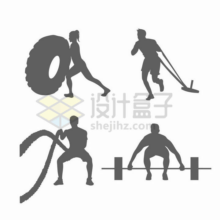 健身房中4款推轮胎战绳举重等健身运动灰色剪影png图片免抠矢量素材