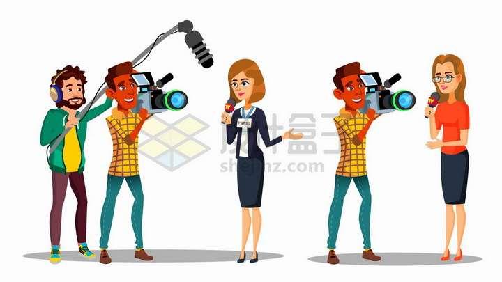 卡通记者和摄影师团队拍摄现场png图片免抠矢量素材