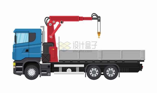 带起重机吊车的蓝色平板卡车货车png图片素材