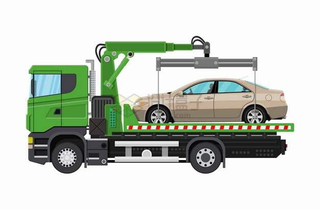 装轿车小汽车的绿色救援卡车拖车png图片素材