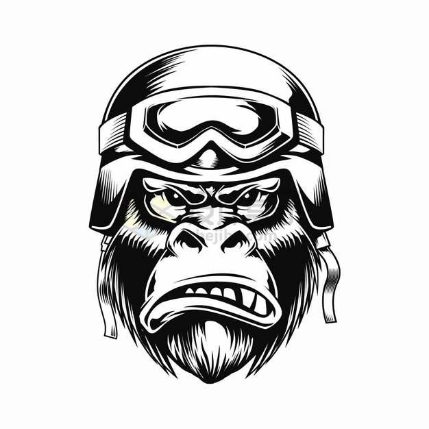 愤怒的大猩猩黑猩猩黑白头像png图片素材