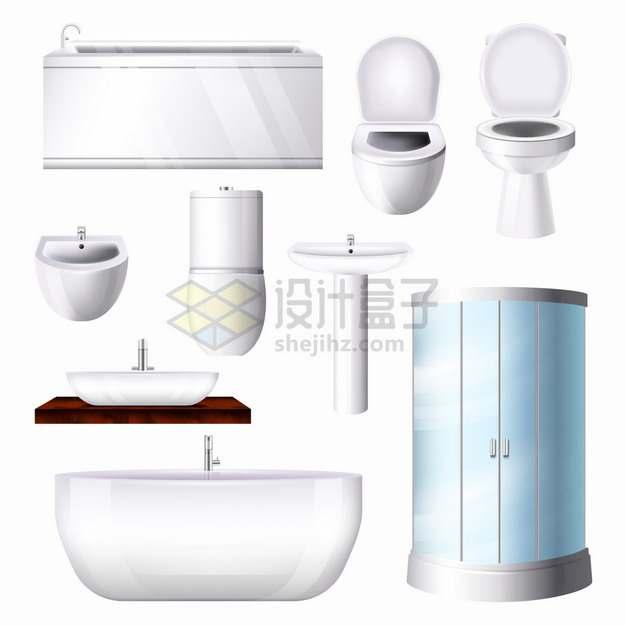 洗手池抽水马桶洗漱池浴缸淋浴室等卫生间设施png图片素材