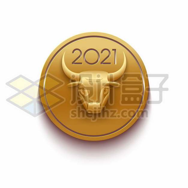 2021年牛年金色牛头图案825056png矢量图片素材
