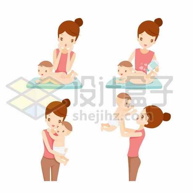 卡通年轻妈妈给宝宝换尿不湿清洁屁屁卫生291428png矢量图片素材