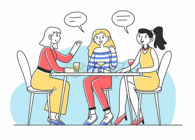 三个喝酒聊天的女孩好朋友闺蜜手绘插画png图片素材