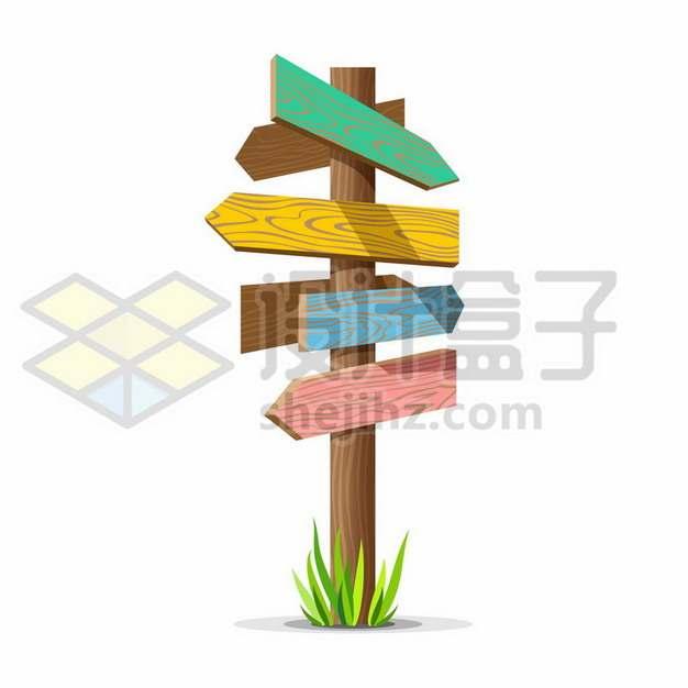 彩色卡通木头木牌路标指示牌461142png矢量图片素材