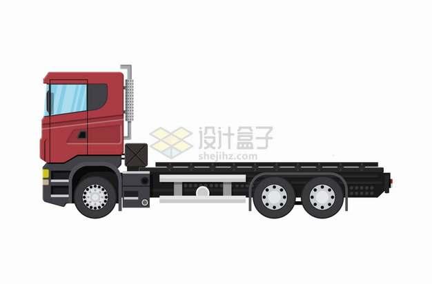 红色车头的平板卡车货车png图片素材