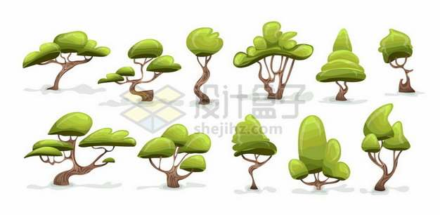 11款卡通绿树大树197838png矢量图片素材
