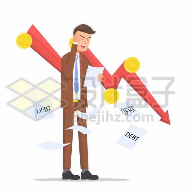 下降红色箭头和烦恼头疼的商务人士金融危机684742png矢量图片素材