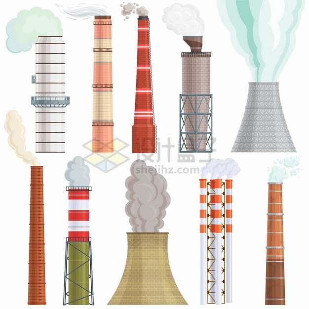 10款工厂烟囱冷却塔冒烟的高塔建筑png图片素材