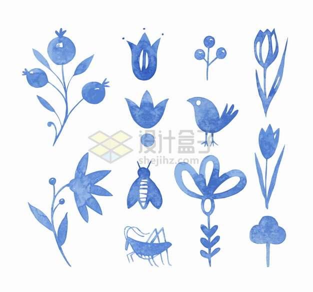 水果鲜花小鸟蜜蜂蚂蚱蓝色水彩插画png图片素材