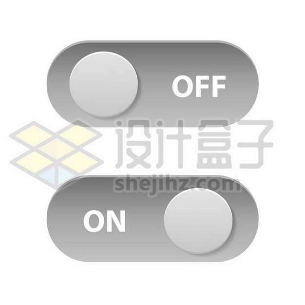 逼真的圆角灰色开关按钮748167png矢量图片素材