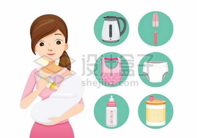 卡通年轻妈妈抱着宝宝喂奶和相关育婴图标605453png矢量图片素材