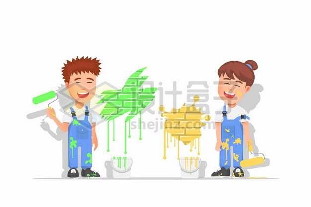 卡通小夫妻正在粉刷墙面349881png矢量图片素材
