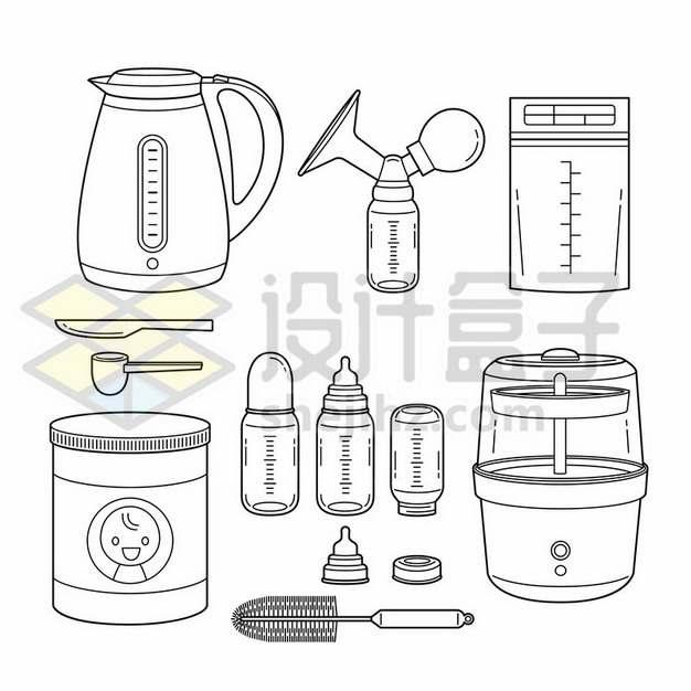 线条风格卡通电水壶和温奶器恒温调奶器宝宝奶瓶687333png矢量图片素材