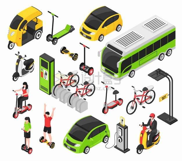 2.5D风格电动公交车出租车电动车平衡车共享单车自行车等绿色出行交通工具png图片素材