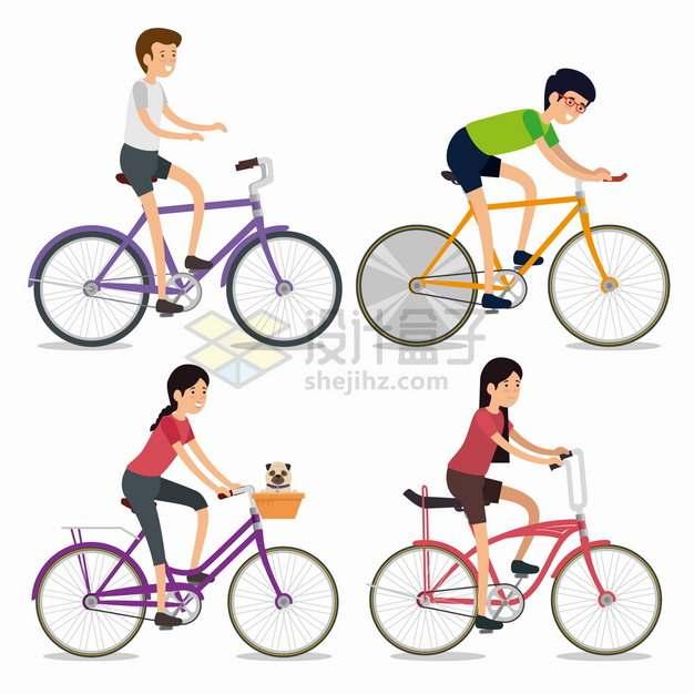 4款骑自行车的男孩女孩扁平插画png图片素材