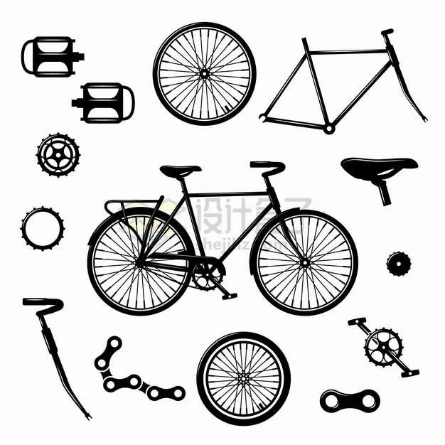 自行车剪影和零部件车蹬子车座链条等png图片素材