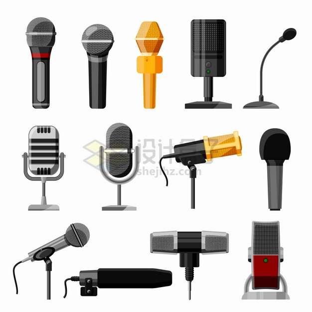 各种各样的话筒麦克风录音设备png图片素材