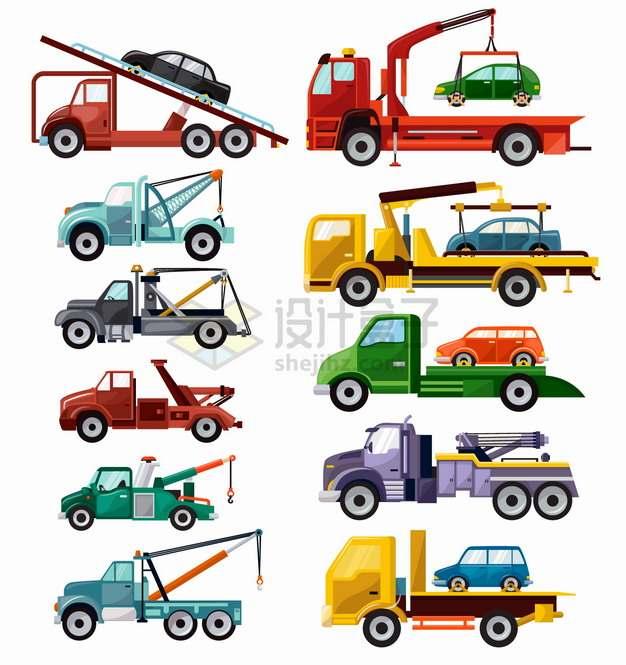 拖车救援汽车卡车运输车等特种车辆png图片素材