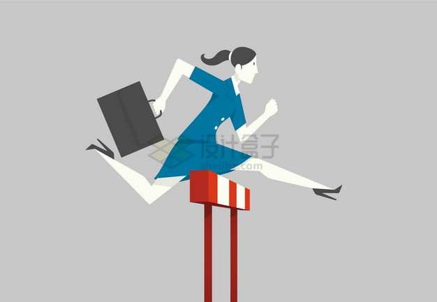 拎包跨栏的商务女士象征了职场竞争文化png图片素材