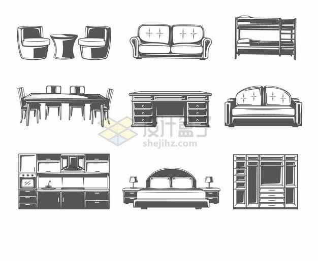 黑白色会客沙发上下铺餐桌办公桌大床橱柜衣柜等家具图案png图片素材