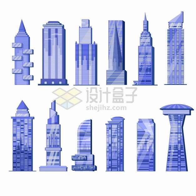 12款紫色高楼大厦摩天大楼城市建筑png图片素材
