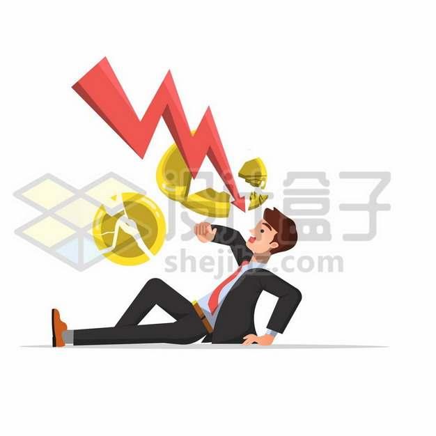 下降红色箭头击碎金币吓倒卡通商务人士金融危机267288png矢量图片素材