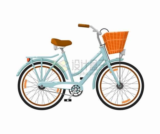 淡蓝色的女式自行车带车篮侧视图png图片素材