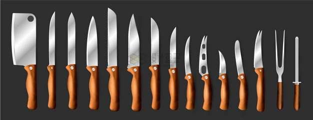 一整套厨房刀具菜刀水果刀等png图片素材
