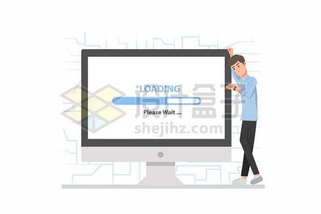 卡通年轻人等待电脑下载象征网络速度慢562576png矢量图片素材