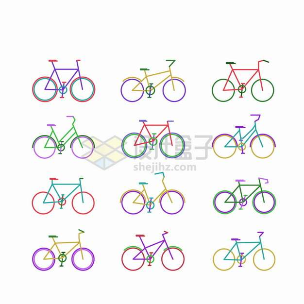 12款彩色线条自行车png图片素材