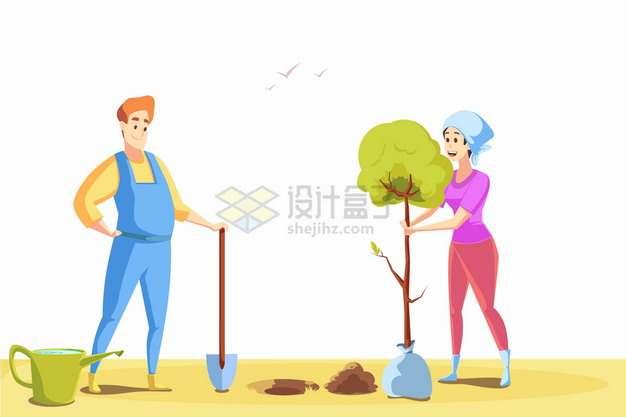 卡通男人和女人正在种树植树节插画png图片素材