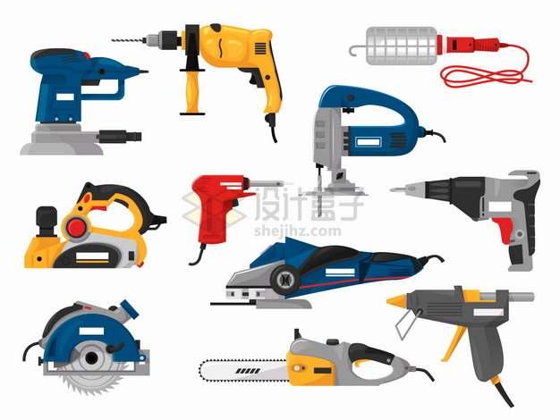 电钻电锯抛光机电刨等木工工具png图片素材